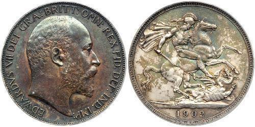 1 Crown Vereinigtes Königreich von Großbritannien und Irland (1801-1922) Silber Eduard VII (1841-1910)