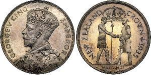 1 Crown New Zealand Silver George V of the United Kingdom (1865-1936)