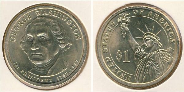 1 Dólar Estados Unidos de América (1776 - ) Cobre/Zinc George Washington