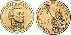 1 Dólar Estados Unidos de América (1776 - ) Níquel/Cobre James Monroe