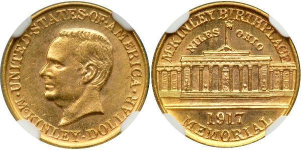 1 Dólar Estados Unidos de América (1776 - ) Oro William McKinley, Jr. (1843 - 1901)