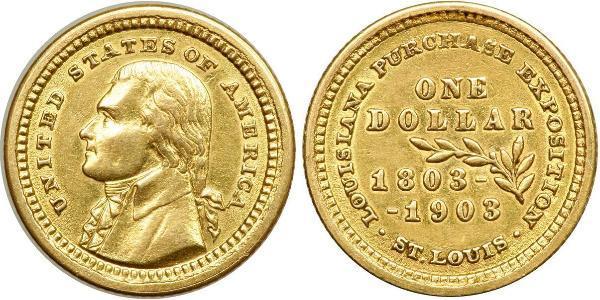 1 Dólar Estados Unidos de América (1776 - ) Oro Thomas Jefferson (1743-1826)