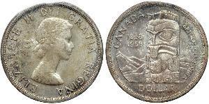 1 Dólar Canadá Plata Isabel II (1926-)
