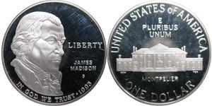 1 Dólar Estados Unidos de América (1776 - ) Plata James Madison (1751 - 1836)