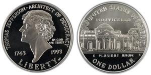 1 Dólar Estados Unidos de América (1776 - ) Plata Thomas Jefferson (1743-1826)