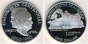 1 Dólar Estados Unidos de América (1776 - ) Plata Dwight D. Eisenhower (1890-1969)