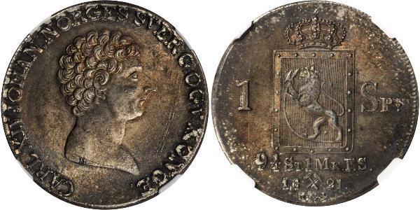 1 Daler Норвегия Серебро Карл XIV Юхан король Швеции (1763-1844)