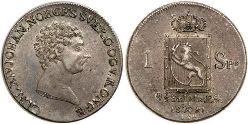 1 Daler Norvège Argent Charles XIV Jean de Suède (1763-1844)