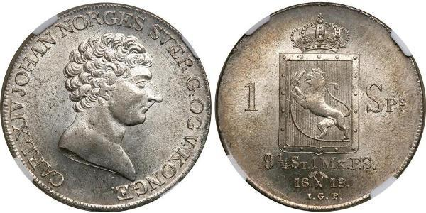 1 Daler Norvegia Argento Jean-Baptiste Jules Bernadotte (1763-1844)