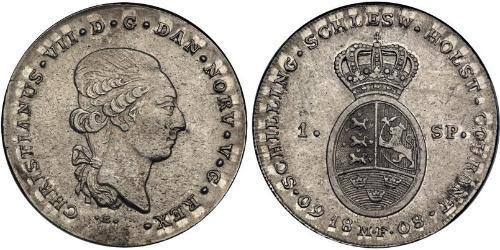 1 Daler / 1 Speciedaler Датско-норвежское королевство (1536-1814) Срібло Крістіан VIII король Данії (1786 - 1848)