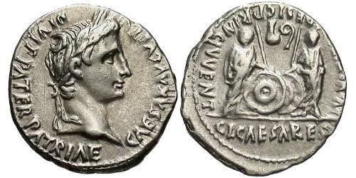 1 Denario Impero romano (27BC-395) Argento Augustus (63BC- 14)