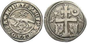 1 Denario Croacia Plata Bela IV de Hungría (1206 - 1270)