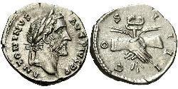 1 Denario Imperio romano (27BC-395) Plata Antonino Pío  (86-161)