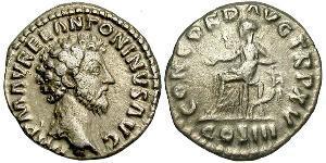 1 Denario Imperio romano (27BC-395) Plata Marco Aurelio (121-180)