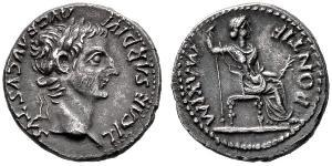 1 Denario Imperio romano (27BC-395) Plata Tiberio Claudio Nerón (42 BC-37)