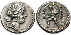 1 Denarius Römische Republik (509BC-27BC) Silber Iulius Caesar (100BC- 44 BC)