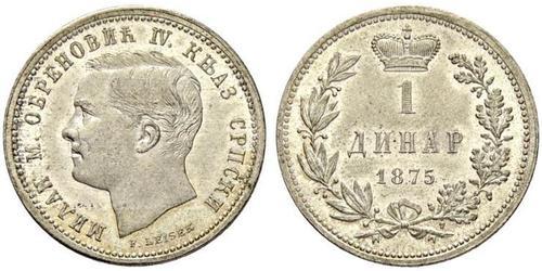1 Denaro Serbia Argento Milan Obrenović IV di Serbia