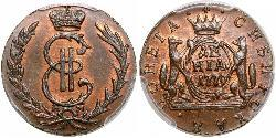 1 Denga 俄罗斯帝国 (1721 - 1917) 銅 叶卡捷琳娜二世 (1729-1796)