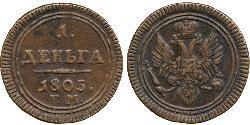 1 Denga Russisches Reich (1720-1917) Kupfer Alexander I (1777-1825)