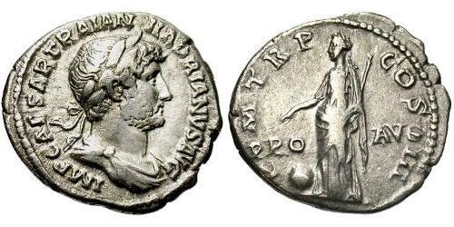 1 Denier Empire romain (27BC-395) Argent Hadrien (76 - 138)