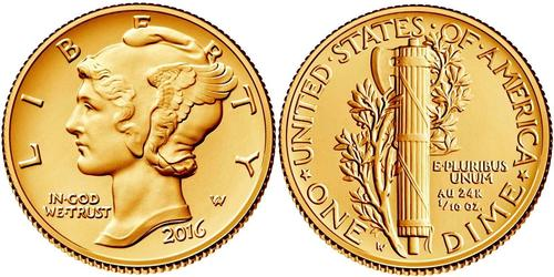1 Dime USA (1776 - ) Gold