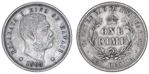 1 Dime Estados Unidos de América (1776 - ) Plata Kalakaua