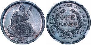 1 Dime / 10 Cent Estados Unidos de América (1776 - ) Cobre/Plata