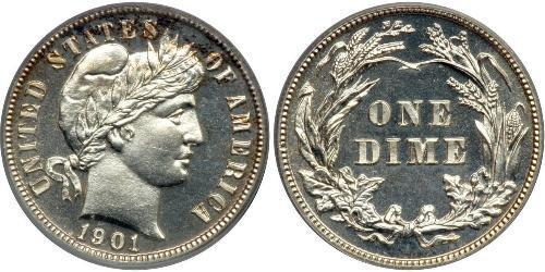 1 Dime / 10 Cent USA (1776 - ) Copper/Silver