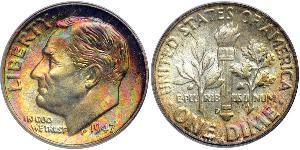 1 Dime / 10 Cent Estados Unidos de América (1776 - ) Plata