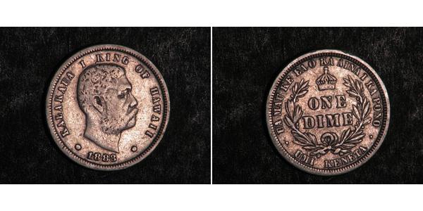 1 Dime / 10 Cent USA (1776 - ) Silver Kalākaua