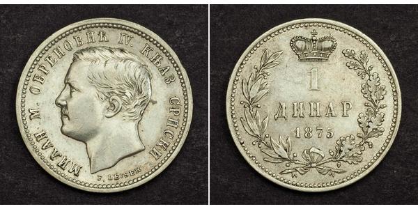 1 Dinar Serbie Argent Milan Ier de Serbie