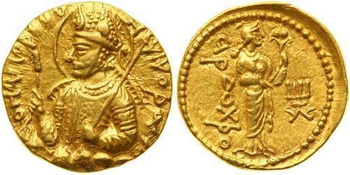 1 Dinar Kuschana Empire (60-375) Gold Huvishka (?-180)