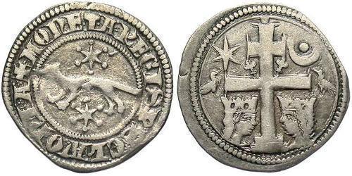 1 Dinaro Croacia Plata Bela IV de Hungría (1206 - 1270)