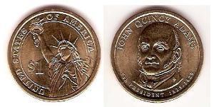1 Dollar 美利堅合眾國 (1776 - ) 銅/镍 John Adams (1735-1826)