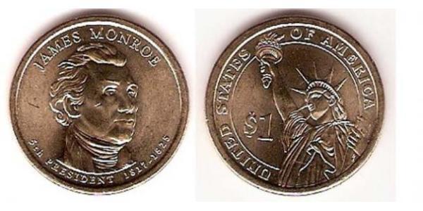 1 Dollar USA (1776 - ) Copper/Nickel James Monroe