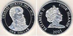 1 Dollar Cook Islands Silver Charles John Huffam Dickens (1812 - 1870) / Elizabeth II (1926-)