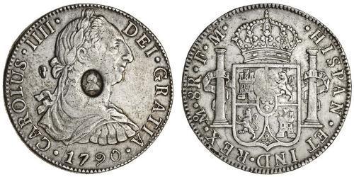 1 Dollar / 8 Real Vereinigtes Königreich von Großbritannien und Irland (1801-1922) / Vizekönigreich Neuspanien (1519 - 1821) Silber Georg III (1738-1820) / Karl IV (1748-1819)