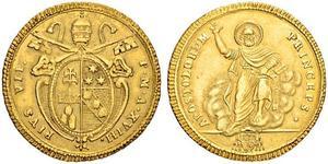 1 Doppia Папская область (752-1870) Золото Пий VI ( 1717-1799)
