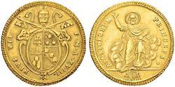 1 Doppia 教皇国 (754 - 1870) 金 Pope Pius VI ( 1717-1799)
