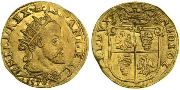 1 Doppia Italian city-states Gold Philip II of Spain (1527-1598)