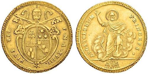 1 Doppia Kirchenstaat (752-1870) Gold Pius VI ( 1717-1799)