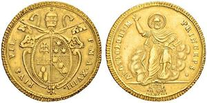 1 Doppia Papal States (752-1870) Gold Pope Pius VI ( 1717-1799)