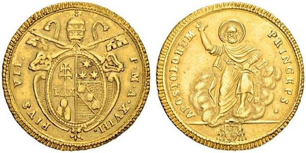 1 Doppia Papal States (752-1870) Gold Pope Pius VI ( 1717-1799)