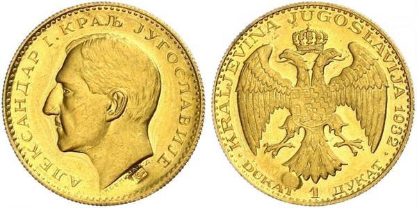 1 Ducat Kingdom of Yugoslavia (1918-1943) Gold Alexander I of Yugoslavia (1888 - 1934)
