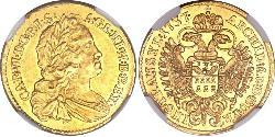 1 Ducat Saint-Empire romain germanique (962-1806) Or Charles VI du Saint-Empire (1685-1740)
