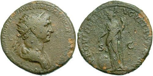 1 Dupondius Roman Empire (27BC-395) Bronze Trajan (53-117)