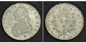 1 Ecu 中世纪的法国 銀 路易十六 (1754 - 1793)
