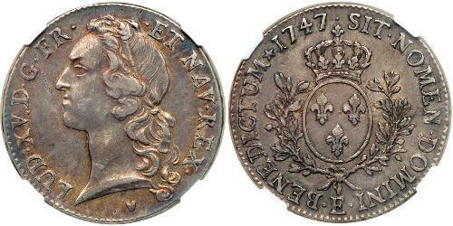 1 Ecu 中世纪的法国 銀 路易十五 (1710 - 1774)