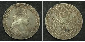 1 Ecu Francia medioevale (843-1791) Argento Luigi XIV di Francia (1638-1715)