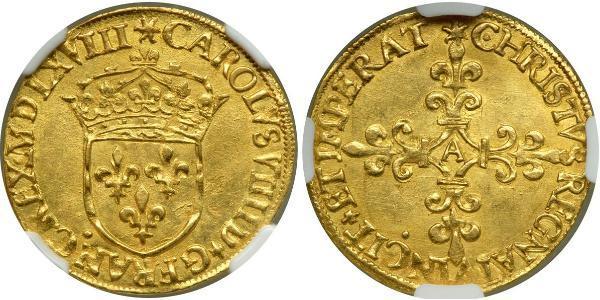 1 Ecu Kingdom of France (843-1791) Or Charles IX (roi de France)(1550 -1574)